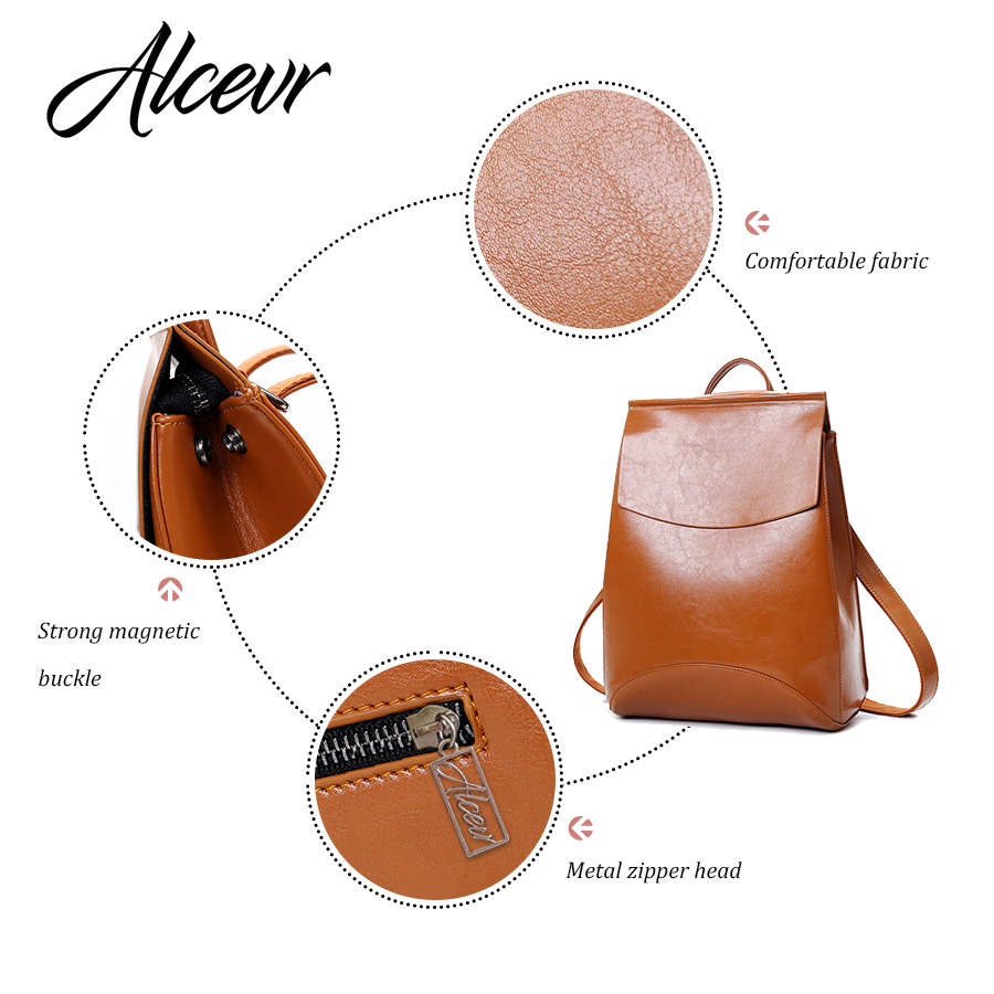 Alcevr Fashion Women Backpack High Quality Youth Leather Backpacks For Teenage Girls Female School Shoulder Bag Bagpack Mochila #4