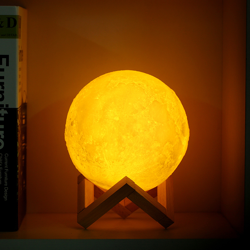 Rechargeable 3D Moon Light Lamp with 2 Colors Changing and Touch Switch Bedroom Night Light Novelty Gift for kids birthday GIFT