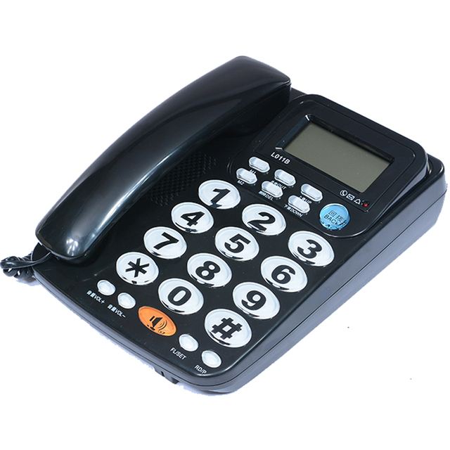 FSK/DTMF звонящий ID Handfree Corder телефон большая кнопка громкий рингтон Fixe стационарный домашний телефон без батареи для пожилых людей черный