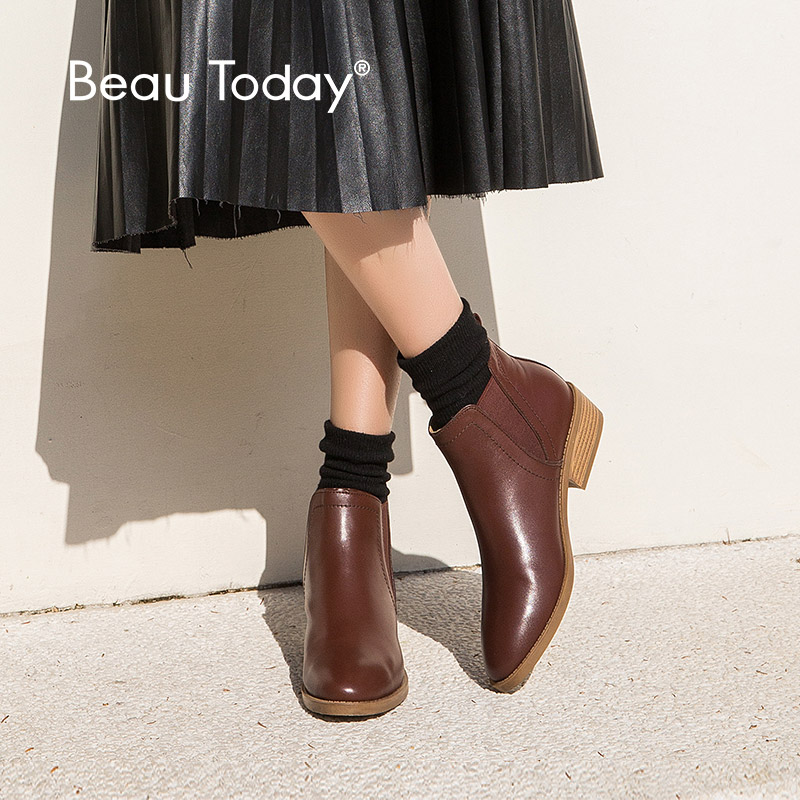 BeauToday Women Chelsea Boots Elastic Genuine Leather Calfskin Spring Autumn Ankle Length Lady boots Handmade 03237