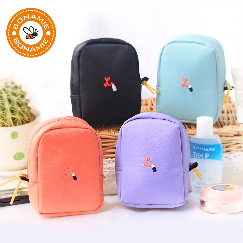 BONAMIE Women Organizer Makeup Bag Wash Bag Women Small Cosmetic Bag Portable Case Pouch Female Travel Toiletry Bag Purse japanese pouch small hand carry green canvas heat preservation lunch box bag for men and women shopping mama bag