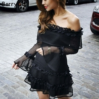 BerryGo Off Shoulder Ruffle Lace Dress Women Hollow Out Sexy Mini Dress Party 2018 Summer Style