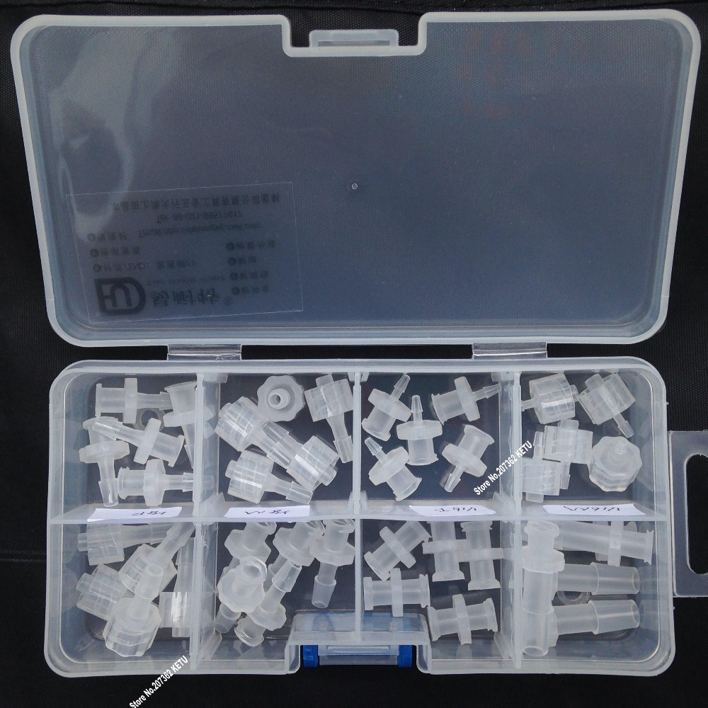 free shipping assortment Luer Tapered Fitting (polyprop) Luer Lock Syringe fitting Connectors 40pcs in a plastic box free shipping 10pcs lot pu 6 pneumatic fitting plastic pipe fitting pu6 pu8 pu4 pu10 pu12 push in quick joint connect