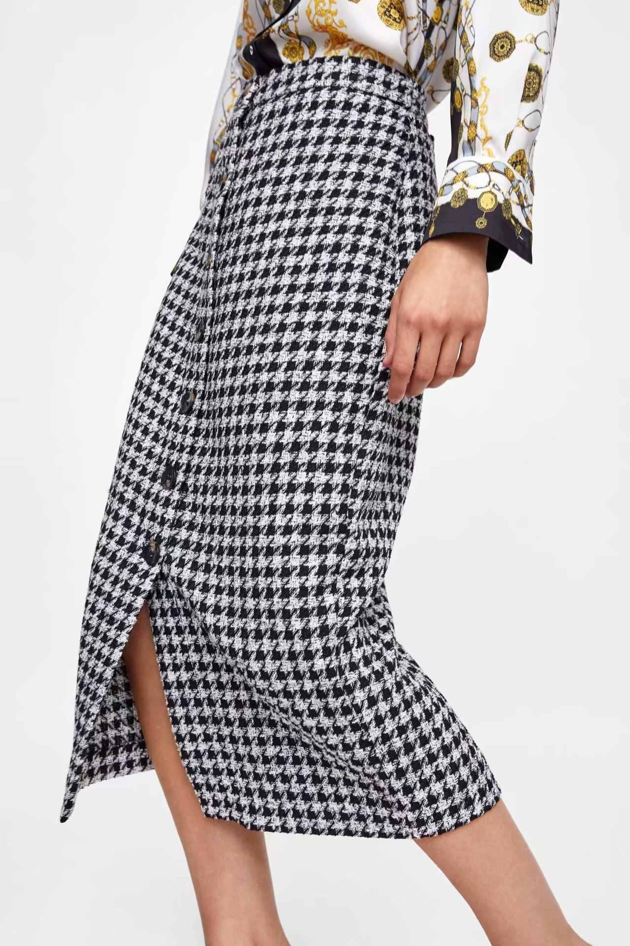 0ac18ee513ac Women Wool Blends Houndstooth Button Through Midi Straight Skirt 2018 New  Arrivals