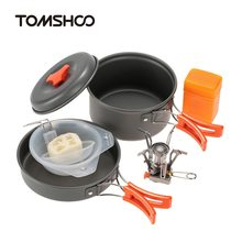 TOMSHOO Outdoor Camping Hiking Picnic Cooking Tool Set Cookware Pot Pan + Mini Piezoelectric Stove Mesh bag