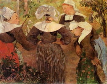 High quality Oil painting Canvas Reproductions Four Breton Women (1886)  by Paul Gauguin hand painted