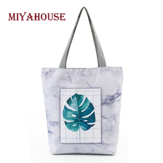 26134d934 Miyahouse New Trendy Canvas Tote Bag Female Simple Portable Beach Bags  Leaves Design Single Shoulder Shopping