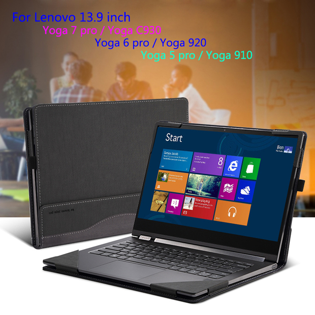 """Case For Lenovo 2018 YOGA C930 13.9"""" 920 910 900 Laptop Sleeve For YOGA 7 Pro 13IKB 6 5 4 Pro PU Leather Protective Cover Gift"""