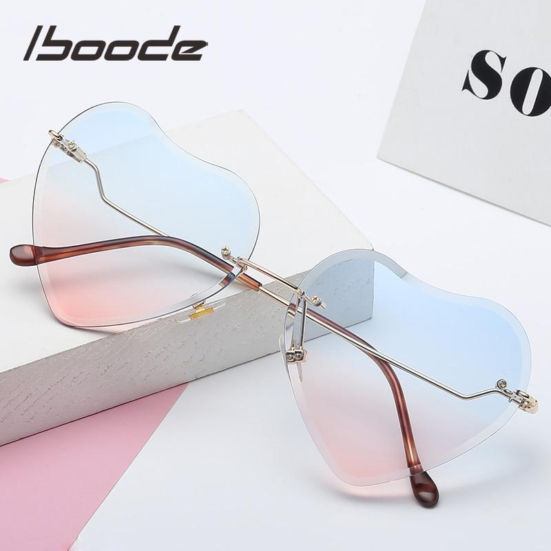Iboode 2019 Fashion Kids Rimless Sunglasses Girls Baby LOVE Heart Shape Sun Glasses UV400 Goggles Children Shades High Quality