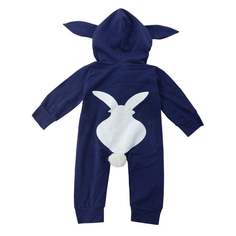 Winter Warm Newborn Girl Boy One-piecer Clothes Playsuit Rabbit 3D Ear Zipper Longo Sleeve Hooded Romper Jumpsuit