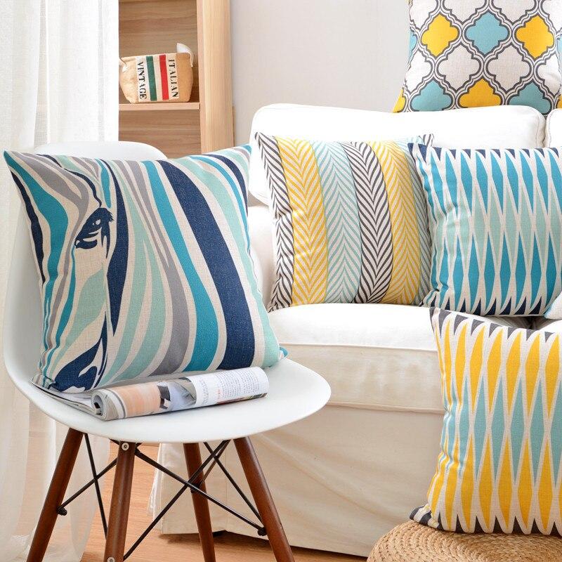 Tiere Zebra Farbe Geometrische Dekokissen Fall Baumwolle Leinen Kissenbezug Für Sofa Home Decor Capa De Almofadas 45x45 cm