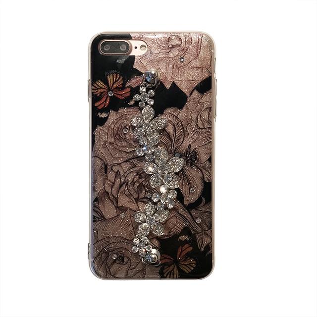 Luxury Cute Diamond Flower Rose Bracelet Cover Case For iPhone 6, 6s, 7, 8, 7/8 plus, X 2