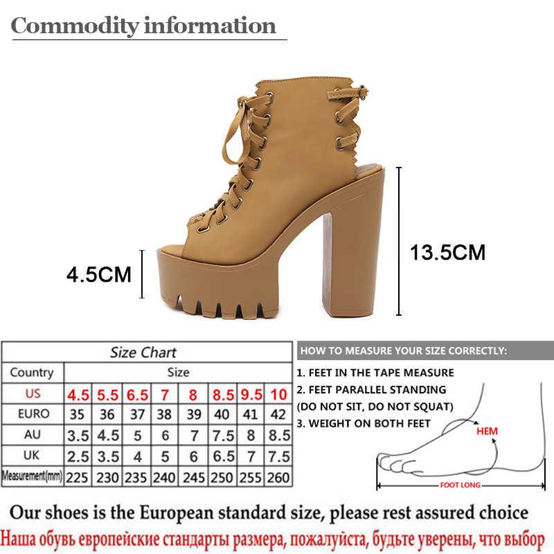 Gdgydh ฤดูใบไม้ร่วง Peep Toe ผู้หญิงปั๊ม Cross ผูกส้นสูงสุภาพสตรีรองเท้าหนังชุดสำนักงานแพลตฟอร์มรองเท้าผู้หญิง