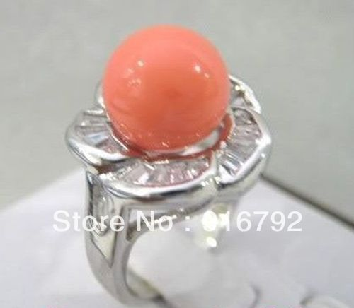 free P&P *******Antique Fruity Pink Coral Stamen Rose Flower Silver Women Cocktail Rings Jewelry