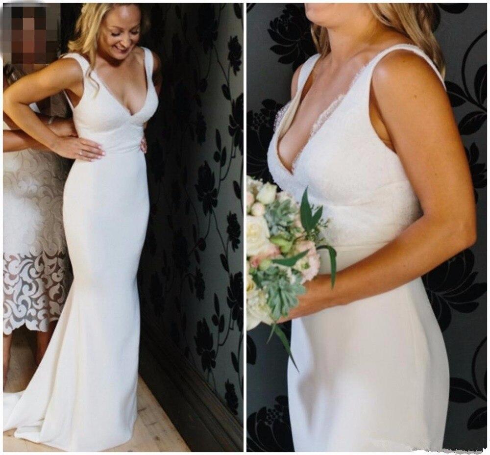 2019 Satin Lace Mermaid Wedding Dress Simple Plain