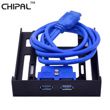 CHIPAL 20 Pin 2 puertos USB 3,0 Panel frontal USB3.0 Hub Cable de expansión adaptador soporte de plástico para PC escritorio 3,5 pulgadas Bahía flexible(China)