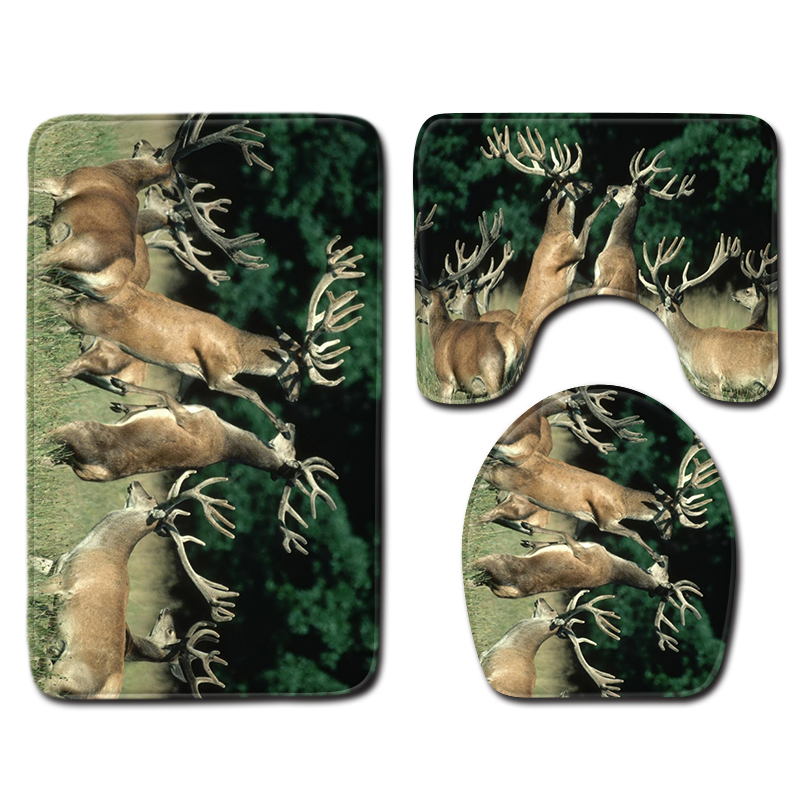 Nordic 3D <font><b>Deer</b></font> <font><b>Bathroom</b></font> Bath <font><b>Mat</b></font> Carpet Rug Sets <font><b>Bathroom</b></font> Toilet Shower Room Carpets Flannel Anti Slip 3 Pieces Bath <font><b>Mat</b></font> Sets image