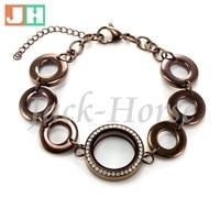 Waterproof 25mm Chocolate Twist Locket  Bracelet  Stainless Steel Colored floating Locket Bracelet