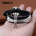 Genuine 925 Sterling Silver Vintage Punk Cross Black Real Leather Bracelet Thai Silver Jewelry for Man & Women