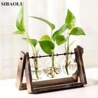 Modern Glass Vase Tabletop Plant Bonsai Pot Flower Wedding Decorative Vase With Wooden Tray Garden Miniatures for Terrariums
