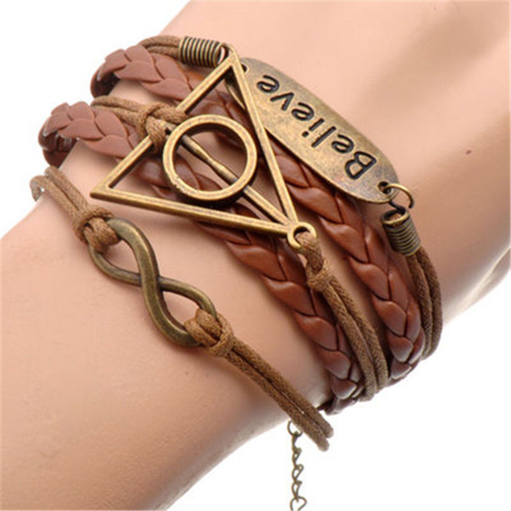 Magic School Deathly Hallows Infinity Triangle Wand Stone Believe Charm Bracelet Cosplay Accessories