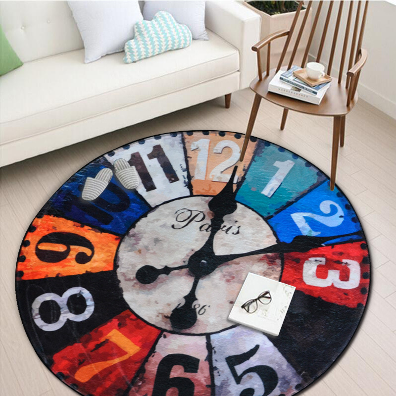 European Retro Wall Clock Round Carpet  For Living Room Soft Velvet Children Bedroom Rugs And Carpet Computer Chair Area Rug