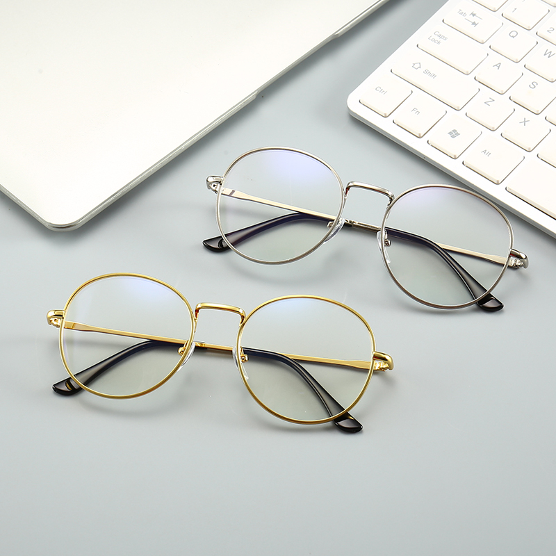 Fashion Blue Light Glasses Retro Metal Frame Anti Blue Ray Computer Glasses Women Vintage Men Round Glasses Frame Goggle Eyewear