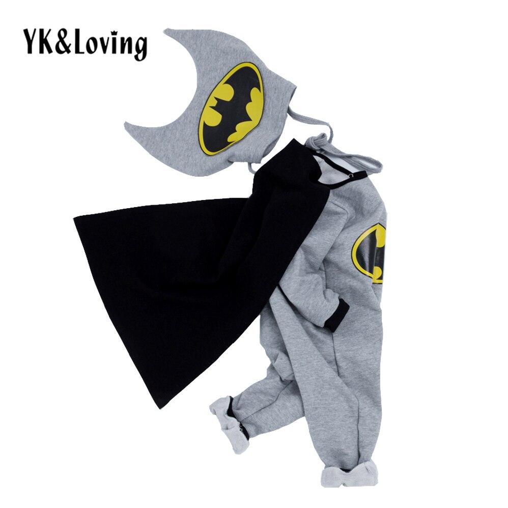2018 New Kids batman   Romper   Cosplay Halloween Costume winter Baby Boy&Girls Clothing Cotton Gray Cartoon suit clothes