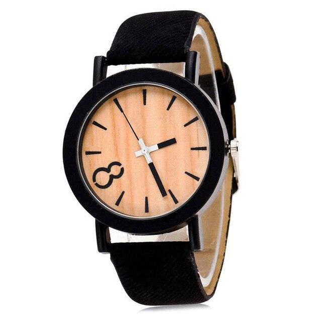 Fashion Vintage Men Women Watches Denim Strap Quartz Watch Wooden Pattern Dial L