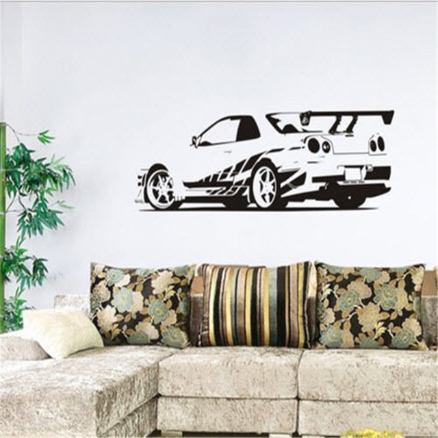 Gtr skyline sports racing car removable wall stickers vinyl decals home decor boys bedroom wallpapers livingroom