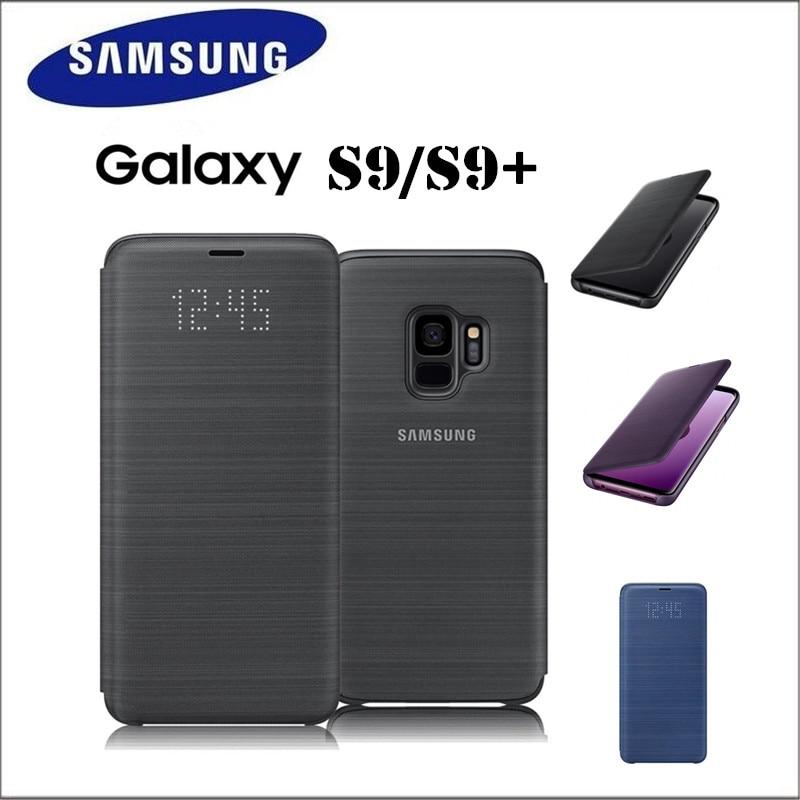 100% officiel Samsung LED étui en cuir intelligent Portefeuille Flip étui pour Samsung Galaxy S9 S9 + S9 Plus G960 G965 3 couleur