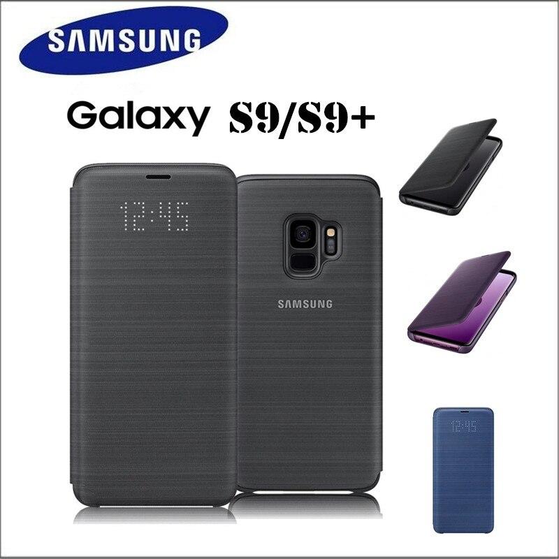 100% officielle Originale Samsung LED Smart Étui En Cuir Portefeuille Flip Cas pour Samsung Galaxy S9 S9 + S9 Plus G960 G965 3 couleur