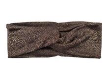 T175261Newest весна набор хорошо стретч золотой металлик спандекс shimmer тюрбан полосы мода твердые браун головные уборы повязка для женщин