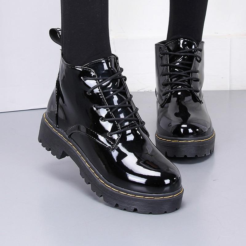 Black Shiny Japanese Lolita High-top Boots 1