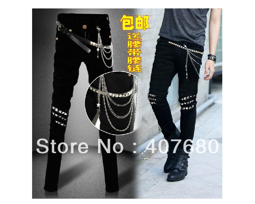 New arrival men's fashion Rivet slim skinny jeans black elastic pencil slim pants tight fitting male with chain and belt new arrival set of four rivet with embossing backpack female rivet woolly bear pendant with fashion backpacks b 40