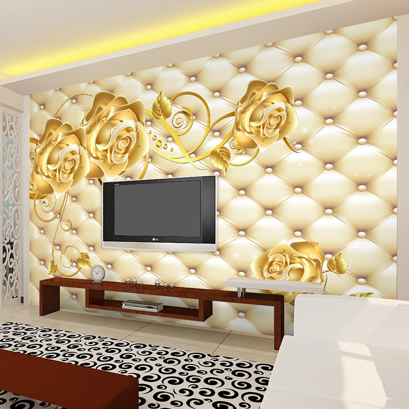 Golden Rose photo wallpaper 3D Custom Wallpaper Luxury Wall Mural ...