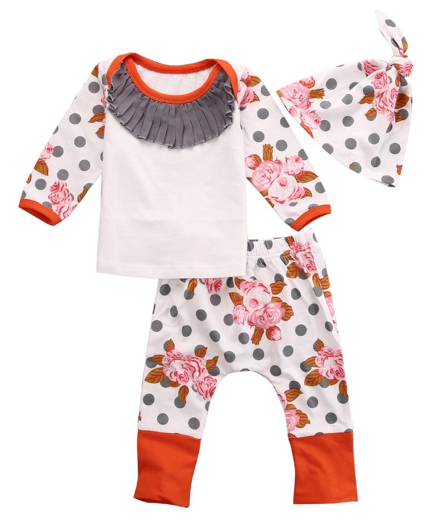 pudcoco nyfödda barn barn flickor blomma tryck polka prickar toppar - Babykläder