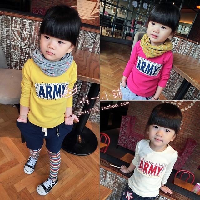 2017 Otoño nueva versión Coreana de los niños y las niñas Carta parche camiseta que basa la camisa de algodón del color del caramelo salvaje