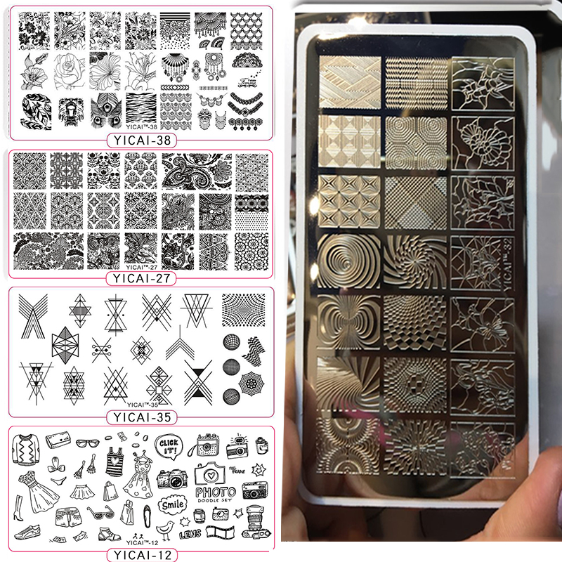 YICAIRE 1Pc Geometric Peacock Image Stamping Template Stencils For Nails, Reusable Rhombus Nail Art Template Manicure Plate 435Q