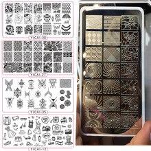 YICAIRE 1Pc geométrica del pavo real de la imagen de la plantilla esténciles para uñas reutilizables rombo plantilla para decoración de uñas placa para manicura 435Q