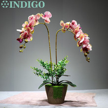 Flower Arrangment White Orchids With Leaves Real Touch Wedding Party Fake Decorative Event Free Shipping