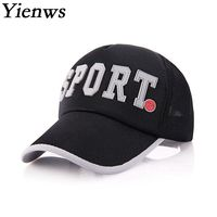 Yienws Wholesale Letter Patch Bone Curved Full Cap Summer Casual Men Mesh Baseball Cap Fashion Kpop