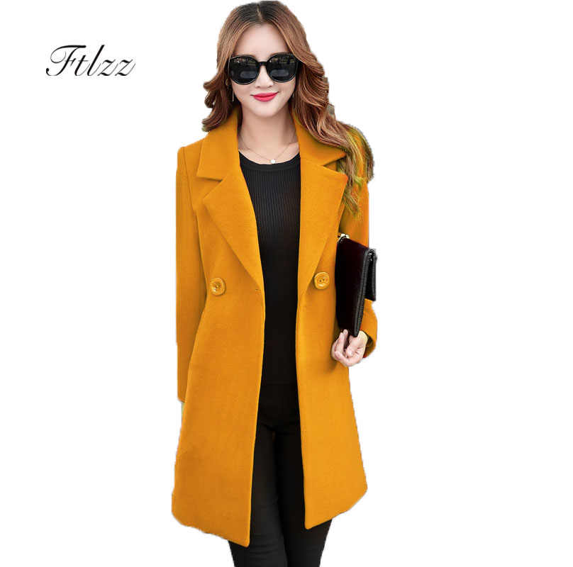 2018 New Autumn Winter Long Wool Coat Women Slim Turn-down Collar Coats Woman Korean Black Coats Casaco Feminino Plus Size Red