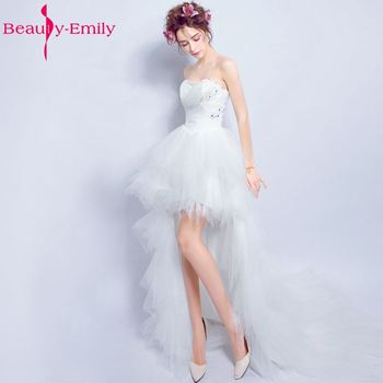 Beauty-Emily Sexy Short Asymmetrical White Wedding Dresses 2019 Cocktial Party Dresses Sweetheart Beading Sequined Pears