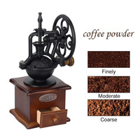Classical Manual Coffee Grinder Wheel Design Coffee Grinder Movement Retro Wooden Coffee Mill For Home Decor
