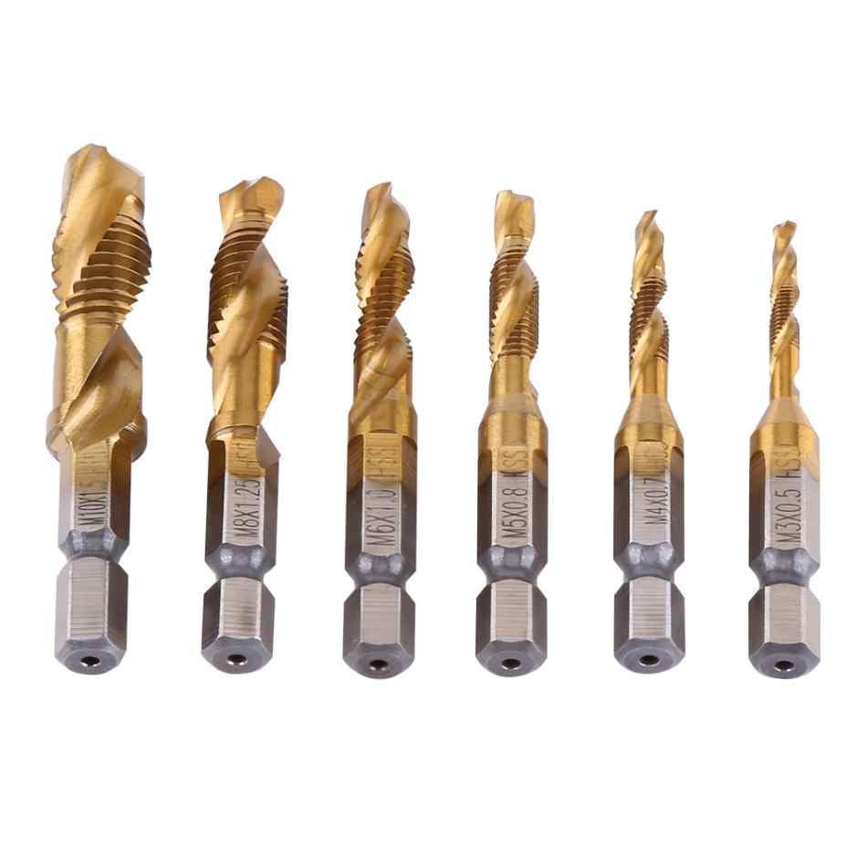 Hexagon Handle Compound Tap Twist Drill Bits M3-M10 Composite Tap Drill Bit Hex HSS 6Pcs//set