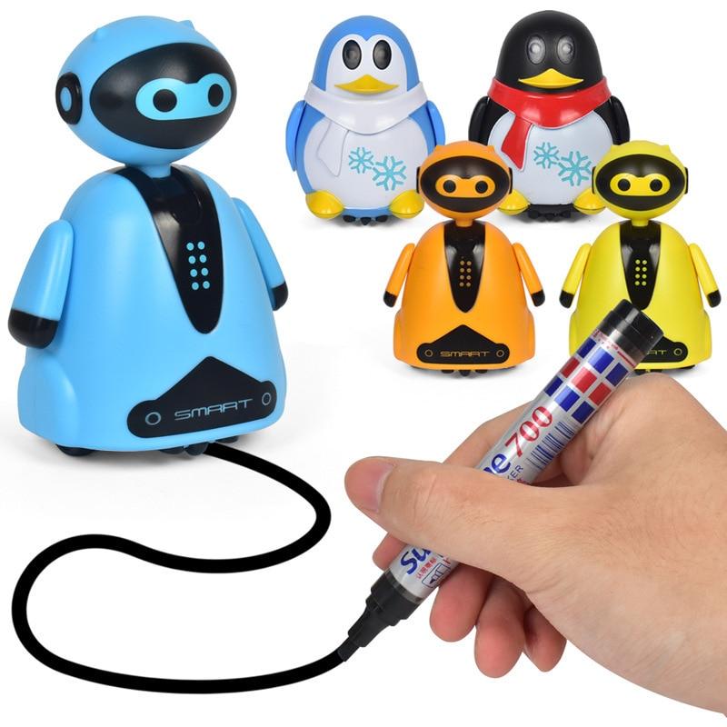 Ligne tracée Animal Magique Jouet Robot Stylo Inductive Pingouin Animal Chat Suivre Noir Piste Carte Auto Selfie Run Mignon Électrique cadeau fo Enfant
