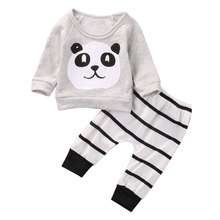 Baby Clothing Sets Kids Newborn baby Boys Girls Long Sleeve Panda T-shirt +Striped Pants Infant Clothes Outfits Sets