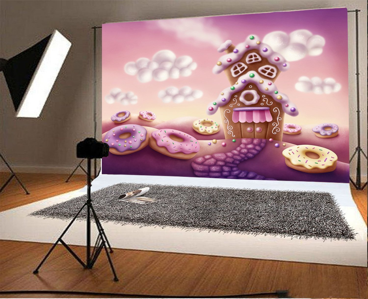 fantasy colorful houses gingerbread pink doughnut clouds cartoon Backgrounds Vinyl cloth Computer print wall photo backdrop