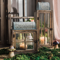 Wrought Iron Candle Holder Table Vintage Garden Rustic Wooden Retro Lantern Hanging Lamp Wood Decoration Candlestick Glass 5t069